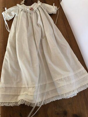 Vintage Cotton Christening Gown Dress With Two Caps
