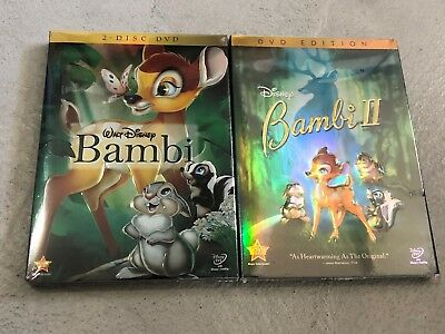 Bambi 1 and 2 Disney 2 Movie Bundle Combo Free Shipping!