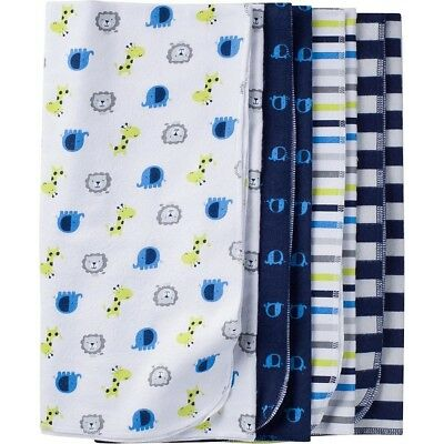 Gerber Baby Boy's 4 Pack Assorted Flannel Blankets CB4 Multi-Color One Size NWT