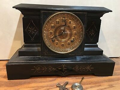 """Ansonia Cast Iron Metal Case """"Palermo"""" 8 Day Mantle Table Shelf Clock"""