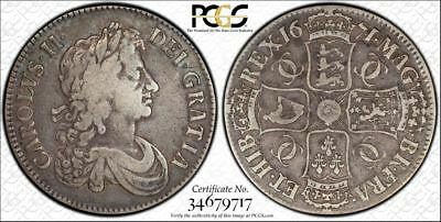 1671 Great Britain Silver 1 Crown Coin PCGS VF-20