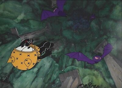 Felix The Cat Production Cel SIGNED by Oriolo 2 Cel set-up Painted backround
