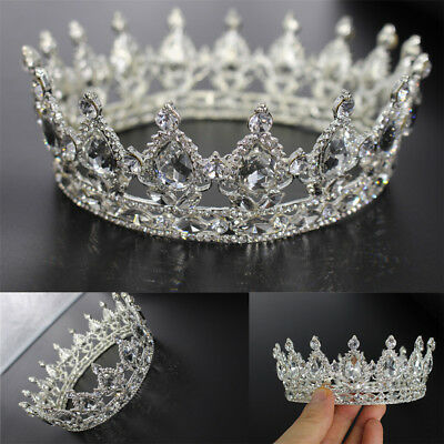 Luxury Full Crystal Drip Adult Wedding Bridal Party Pageant Prom Round Crown EA