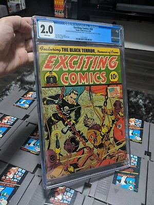 Exciting Comics 28 cgc 2.0 Rare classic cover Gerber 8! White pages!