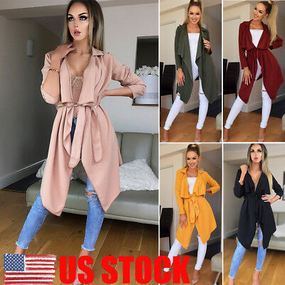 US Womens Long Sleeve Lace Up Sweater Cardigan Jumper Jacket Loose Coat Outwear