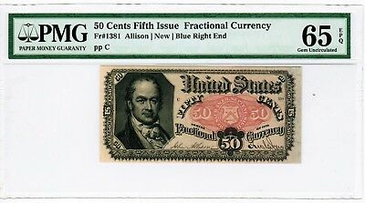 Fr 1381 - 50 Cents Fifth Issue Fractional Currency - Pmg 65 Epq - Gem - Blue End