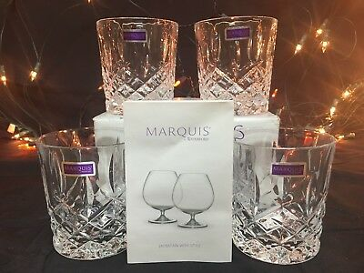 New Marquis By Waterford Markham Double Old Fashioned Set Of 4 165118 3.75""""