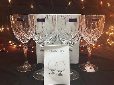 """New Marquis By Waterford Markham All Purpose Wine/Goblet Set Of 4 164644 8.75"""""""