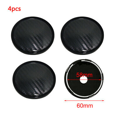 4Pcs Plastic Black Carbon Fiber Look Auto Car Wheel Hub Center Caps Cover 60mm