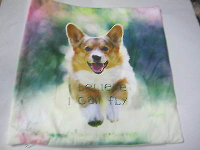 CORGI _I BELIEVE I CAN FLY Dog Pup Puppy cushion cover Throw pillow Us un312