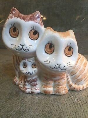 Vintage (1982) ENESCO Hand Painted CERAMIC BANK of 3 STRIPED CATS Kitties TAIWAN