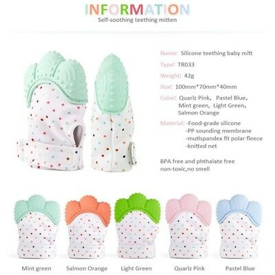 Baby Silicone Soft Gel Teething Gloves Mitten Mitts Candy Wrapper Sound Teether