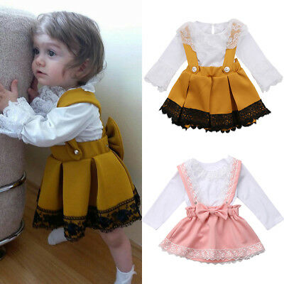 Newborn Kid Baby Girl Lace Bodysuit Romper Bow Princess Party Skirt Dress Outfit