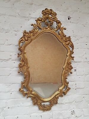 Vintage Louis XV gilded carved wood mirror cut glass