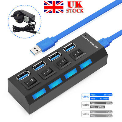 4 Port USB 3.0 Hub On/Off Switches Splitter AC Power Adapter Cable For PC Laptop