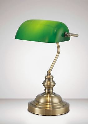 Deco D0085 Morgan Bankers Table Lamp 1 Light E27 Antique Brass/Green Glass
