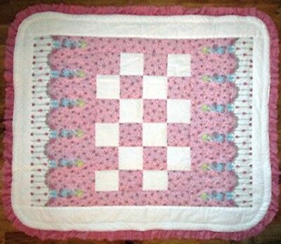 Baby Girl Holly Hobbie Pink Patchwork Quilt Blanket Lace Handmade NEW