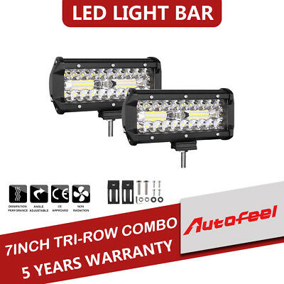 2X 7inch OSRAM LED Light Bar 120W Combo Driving For JEEP ATV 4WD Offroad Lamp