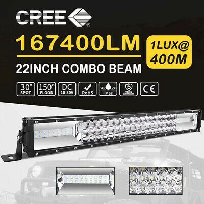 22inch LED Work Light Bar Triple Rows Spot Flood Combo Driving Offroad 4WD 20''