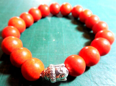 Antique100% Natural Salmon Coral Old Rare Beads+Buddha Silver Bead Bracelet