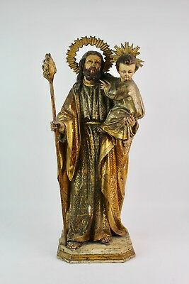 Saint Joseph With The Child In Polychromed Woodcarving. Finals Xvii- Xviii Centu