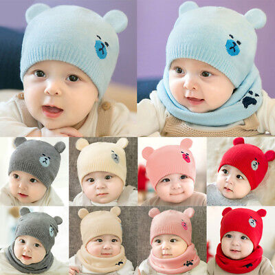 Fashion Baby Boys Girls Children Winter Cap Knitted Warm Hat and Scarf Set 1-3Y
