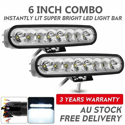 2x 6inch 40W LED Work Driving Light Bar Cree Flood beam Lamp Reverse Offroad 4x4