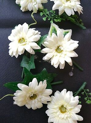 Joblot  bundle 9 pcs x ivory gerbera  wedding boutonniere mixed styles SALE