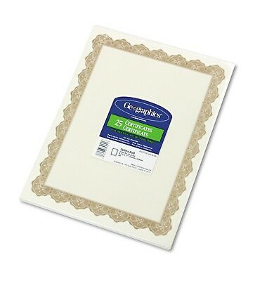 Geographics Parchment Paper Certificates,8-1/2 x 11,Optima Gold Border, 25 pr pk