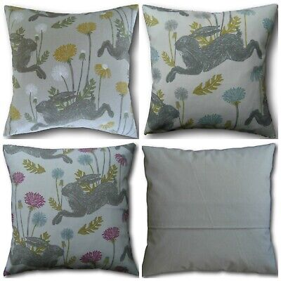 "Jumping Hare Silver Grey Mushrooms  Reversible Zipped 16/"" Cushion Cover"