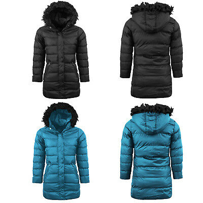 Girl Padded Jacket Fur Hooded Puffer Warm Quilted Winter Puffa Collar Parka Coat