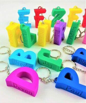 Personalised name keyring, 3D printed, unique gift, book bag tag, stocking