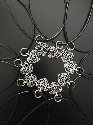 Heart Necklace With Black Cord Wholesale Joblot 10pcs Xmas Gift Stocking Filler