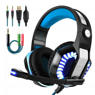 Beexcellent GM2 Stereo Bass Surround Gaming Headset for PS4 Xbox One PC Mic Blue