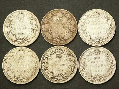 1905 1919 1929 1930 1935 1936 Canada 25 Cents Lot of 6 #1751