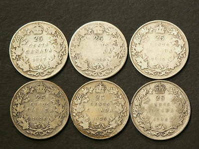 1917 1918 1919 1920 1929 1936 Canada 25 Cents Lot of 6 #1753