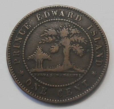 1871 Prince Edward Island Large Cent F ** KEY Queen Victoria ONLY P.E.I. Penny