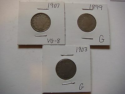Lot of 3 Liberty Head Nickel - five cent Coins 1903,1907,1899 Nice coins #9620