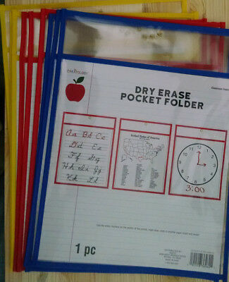 6 PC NEW Reusable Laminate Folder Dry Erase Pockets 9 x 12 Inches Assorted Color
