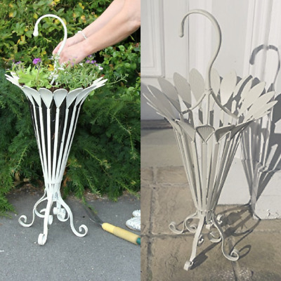 French Shabby Chic Umbrella / Plant Stand Antique Cream Metal Strong Large 85cm