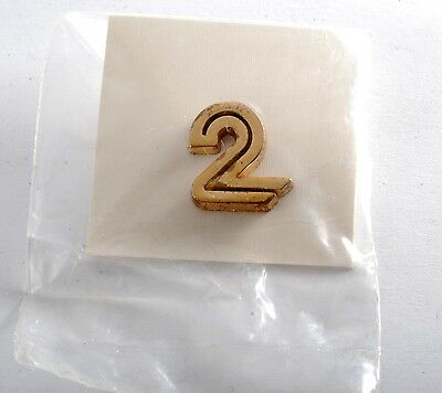Vintage Gold Plated Brass #2 NUMBER TWO LAPEL PIN NEW OLD STOCK