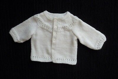 Baby clothes UNISEX BOY GIRL premature/tiny<7.5lbs/3.4kg soft, white cardigan