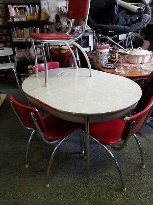 1950's Oval Dining Table with 4 Chairs
