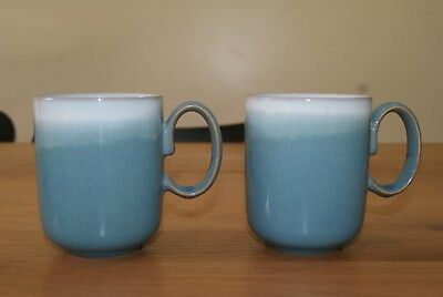 Two Stoneware Denby Azure Double Dip Blue Mugs