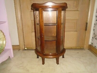 Vintage Wood Curved Glass Shelf Curio Cabinet Table Display Case