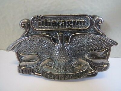 "Vintage 1976 Ithaca Guns Eagle Belt Buckle 3.25"" x 2"" Will Fit A 1.75"" Belt Mint"
