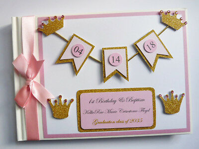 Personalised Princess / Gold Crowns / First/1St Birthday Guest Book - Any Design