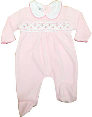 Baby Girls Romany Spanish Style Pink Smocked Embroidered Roses Babygrow Romper