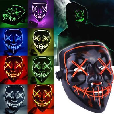 3 Modes Scary Mask Cosplay LED Costume Mask EL Wire Light Up The Purge Movie UK