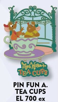 Disney Pin Paris - Alice Tea Cups Time / Mad Hatter's Attraction Jack & Gus DLP